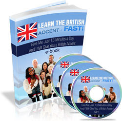 Image: Learn how to speak with a British accent course materials.