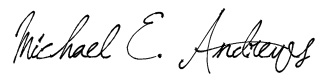 Image: signature of Michael E Andrews, accents coach.